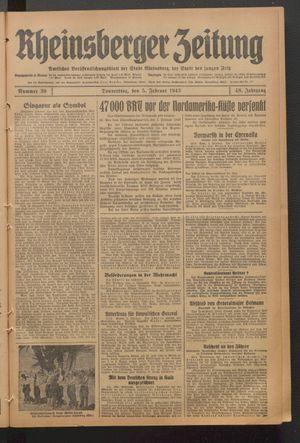 Rheinsberger Zeitung vom 05.02.1942