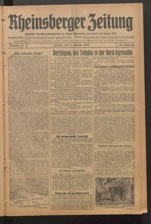 Rheinsberger Zeitung vom 06.02.1942