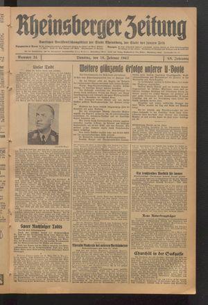 Rheinsberger Zeitung vom 10.02.1942