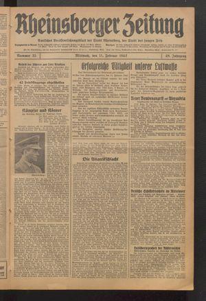 Rheinsberger Zeitung vom 11.02.1942