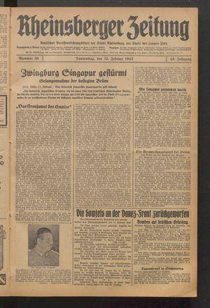 Rheinsberger Zeitung vom 12.02.1942