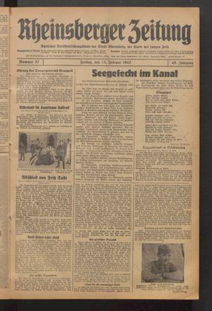 Rheinsberger Zeitung vom 13.02.1942