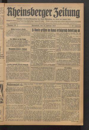 Rheinsberger Zeitung vom 14.02.1942