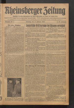 Rheinsberger Zeitung on Feb 17, 1942
