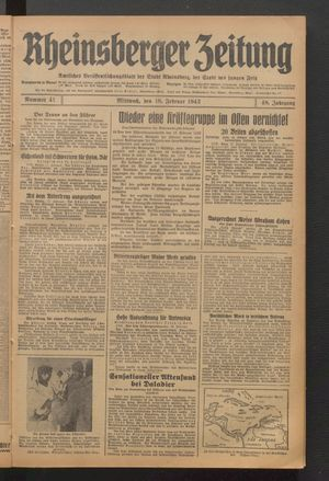 Rheinsberger Zeitung vom 18.02.1942