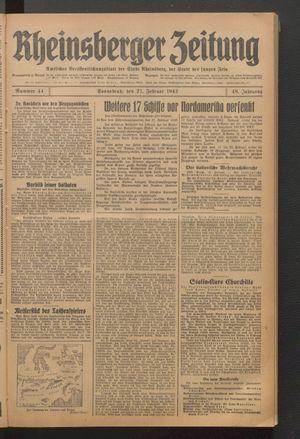 Rheinsberger Zeitung vom 21.02.1942