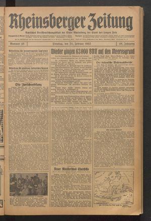 Rheinsberger Zeitung vom 24.02.1942