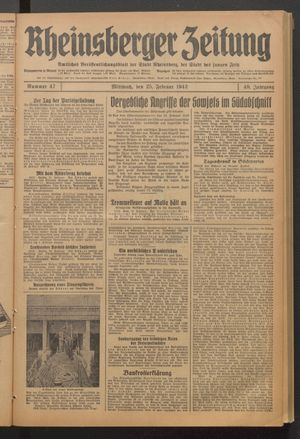 Rheinsberger Zeitung on Feb 25, 1942
