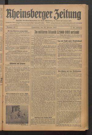 Rheinsberger Zeitung vom 26.02.1942