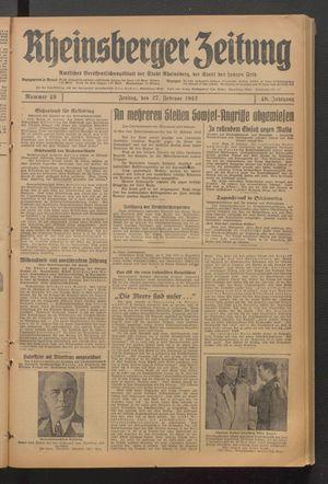 Rheinsberger Zeitung vom 27.02.1942