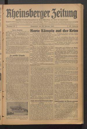 Rheinsberger Zeitung vom 28.02.1942