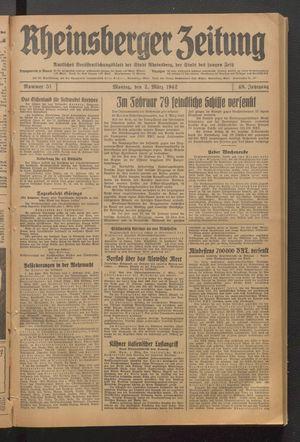 Rheinsberger Zeitung vom 02.03.1942