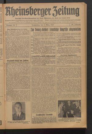 Rheinsberger Zeitung vom 05.03.1942
