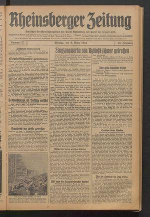 Rheinsberger Zeitung vom 09.03.1942