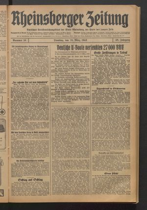 Rheinsberger Zeitung on Mar 10, 1942