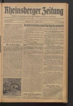 Rheinsberger Zeitung vom 11.03.1942