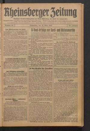 Rheinsberger Zeitung vom 12.03.1942