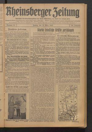 Rheinsberger Zeitung vom 13.03.1942