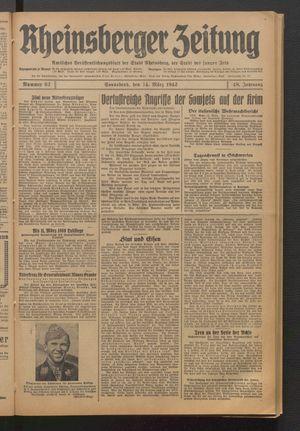 Rheinsberger Zeitung vom 14.03.1942