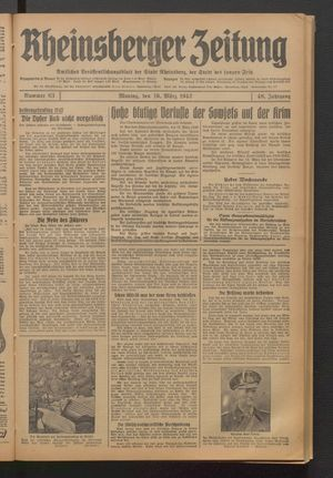 Rheinsberger Zeitung vom 16.03.1942