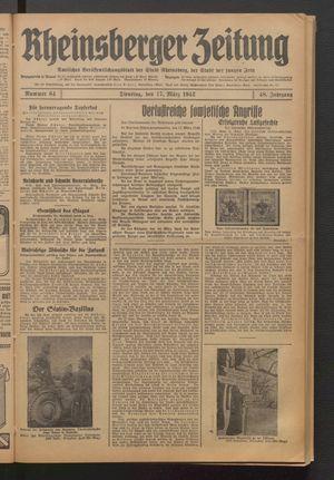 Rheinsberger Zeitung vom 17.03.1942