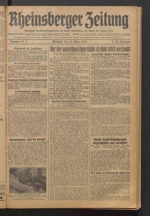 Rheinsberger Zeitung vom 18.03.1942