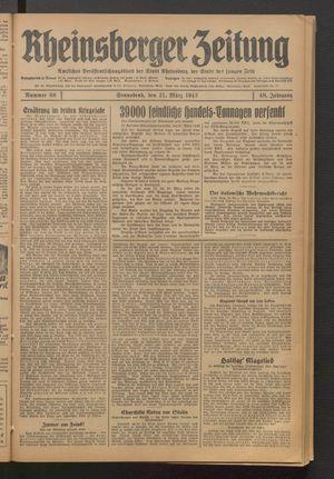 Rheinsberger Zeitung vom 21.03.1942