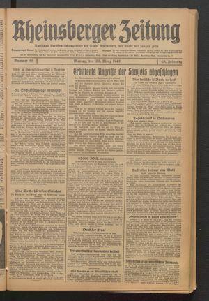 Rheinsberger Zeitung vom 23.03.1942