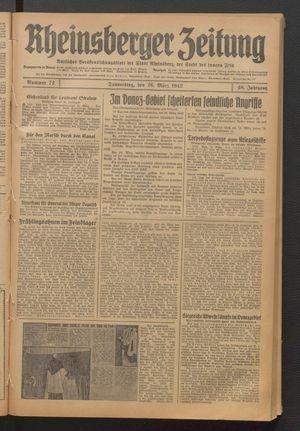 Rheinsberger Zeitung vom 26.03.1942
