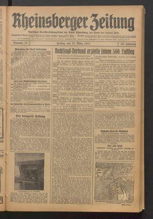 Rheinsberger Zeitung vom 27.03.1942