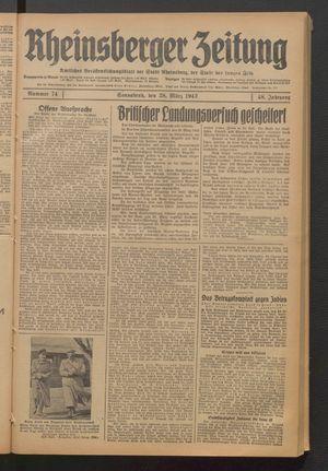 Rheinsberger Zeitung vom 28.03.1942
