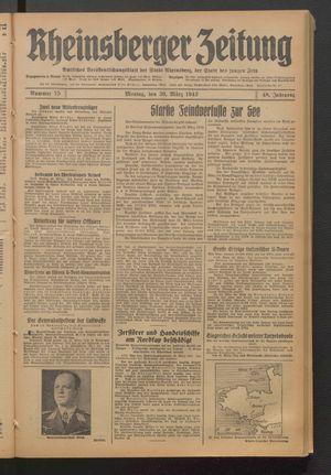 Rheinsberger Zeitung vom 30.03.1942