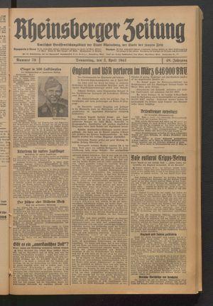Rheinsberger Zeitung vom 02.04.1942