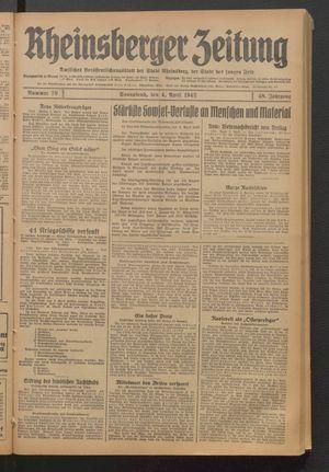 Rheinsberger Zeitung vom 04.04.1942