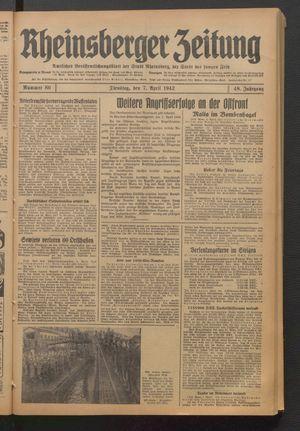 Rheinsberger Zeitung vom 07.04.1942