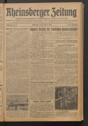 Rheinsberger Zeitung vom 08.04.1942