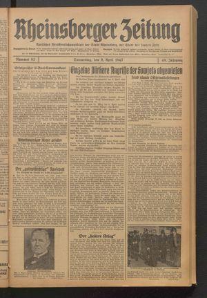 Rheinsberger Zeitung vom 09.04.1942