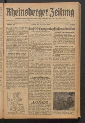 Rheinsberger Zeitung vom 10.04.1942
