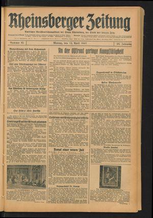 Rheinsberger Zeitung vom 13.04.1942