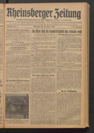 Rheinsberger Zeitung vom 15.04.1942