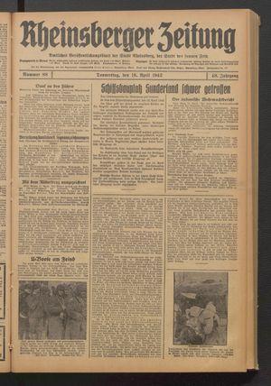 Rheinsberger Zeitung vom 16.04.1942