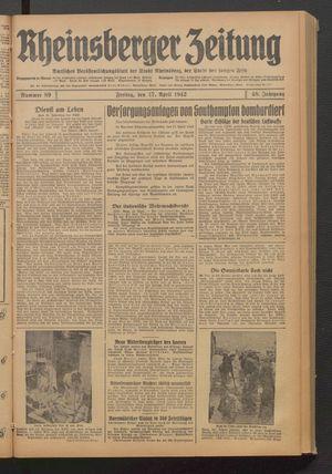 Rheinsberger Zeitung vom 17.04.1942