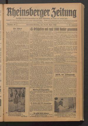 Rheinsberger Zeitung vom 18.04.1942