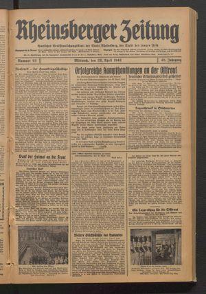 Rheinsberger Zeitung on Apr 22, 1942