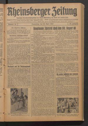 Rheinsberger Zeitung vom 23.04.1942