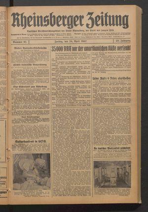 Rheinsberger Zeitung vom 24.04.1942