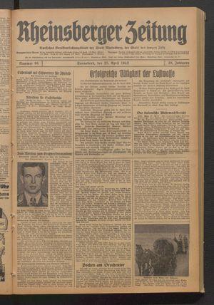 Rheinsberger Zeitung vom 25.04.1942
