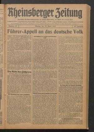 Rheinsberger Zeitung vom 27.04.1942