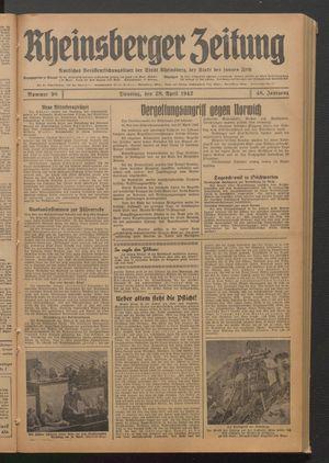 Rheinsberger Zeitung vom 28.04.1942