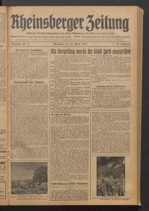 Rheinsberger Zeitung vom 29.04.1942